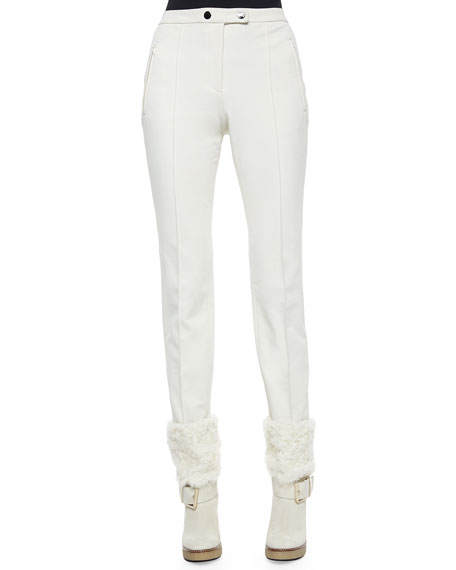Moncler Front-Seam Stretch Pants, White