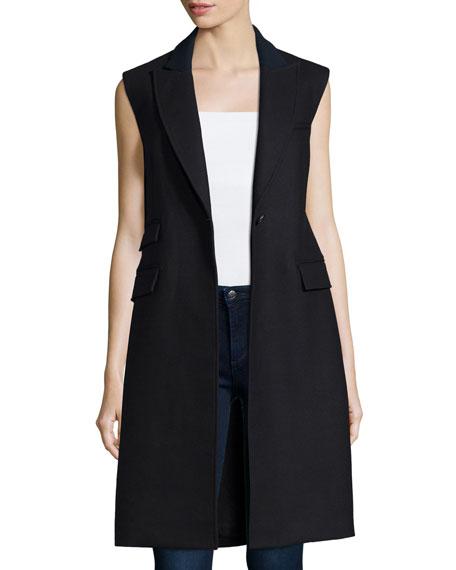 Veronica Beard Palmer Long Sleeveless Vest Black Neiman