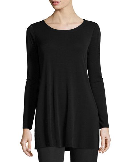 Eileen Fisher Silk Jersey Long-Sleeve Tunic, Black, Petite