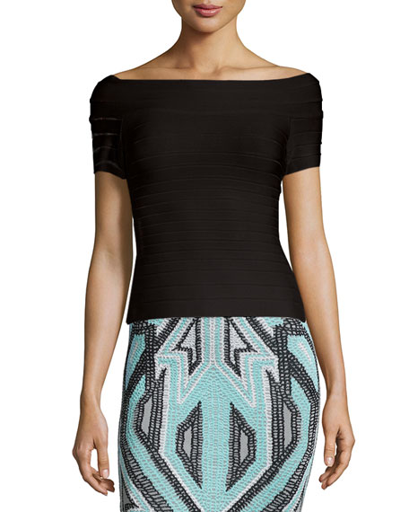 Herve Leger Off-The-Shoulder Bandage Top, Alabaster