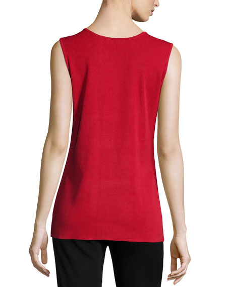 Round-Neck Sleeveless Tank, Red