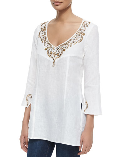 Valencia Embroidered Linen Coverup, White