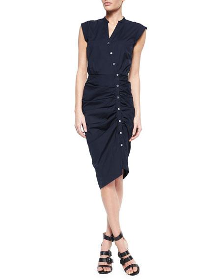 Veronica BeardRuched Asymmetric Cap-Sleeve Shirtdress, Navy