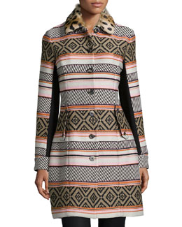 Allena Mixed-Print Fur-Collar Coat