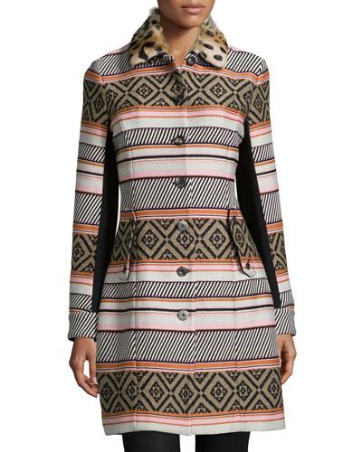 Allena Mixed-Print Fur-Collar Coat