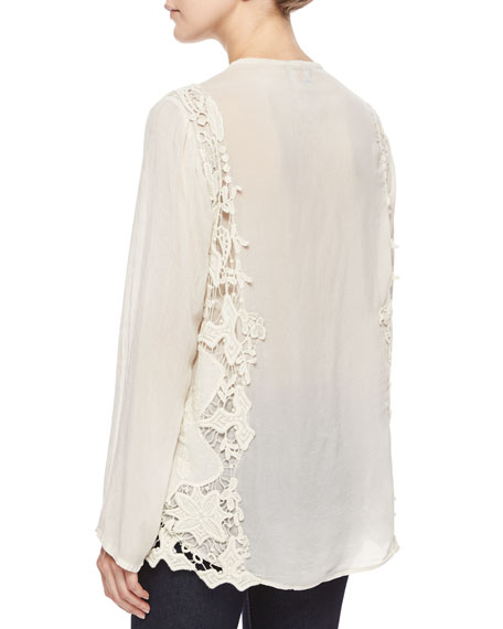 Long-Sleeve Lace Overlay Blouse
