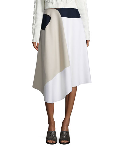 Asymmetric Colorblock Skirt, White/Bone/Navy/Black
