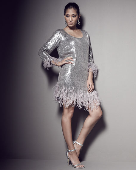 Fatato Sequined Dress W/ Feather Trim Plus Size