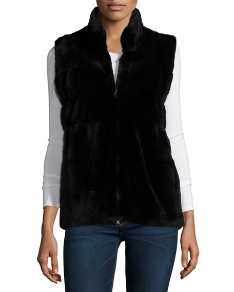 Neiman Marcus Cashmere Collection Reversible Fur & Cashmere Vest