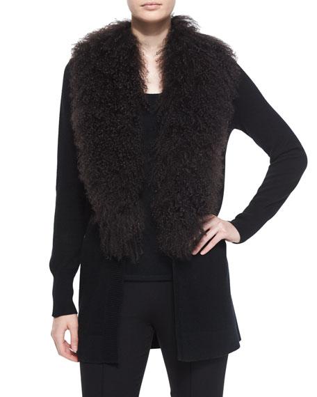 Neiman Marcus Cashmere Collection Tibet Fur-Trim Cashmere