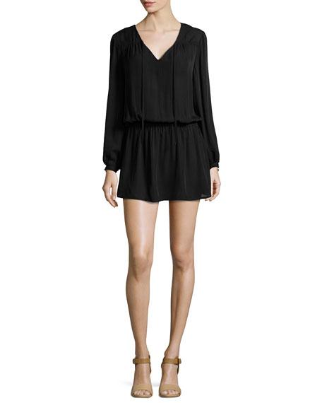 Haute Hippie Cinched-Waist Silk Mini Dress, Black