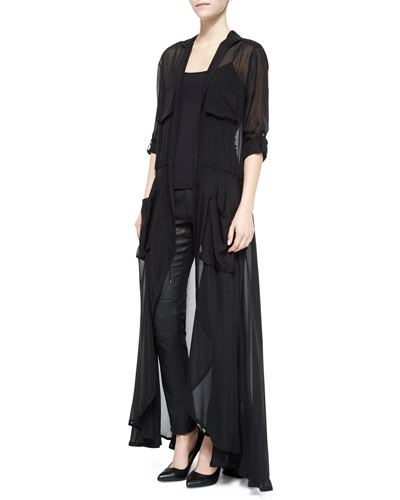 The Big Heat Long Chiffon Trench Duster, Black