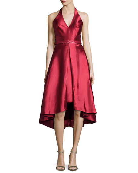 ML Monique Lhuillier Sleeveless V-Neck High-Low Cocktail Dress