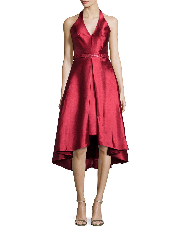 Monique Lhuillier Sleeveless V-Neck High-Low Cocktail Dress  b7c741bca