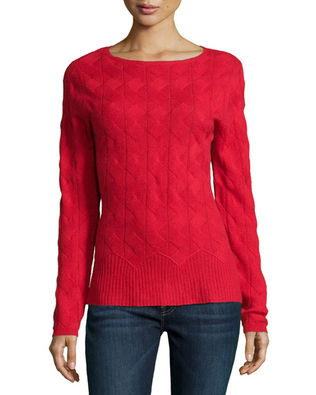 Neiman Marcus Cashmere Collection Cable-Knit Cashmere Sweater