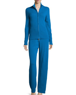Cashmere Zip-Front Jacket & Pant Set