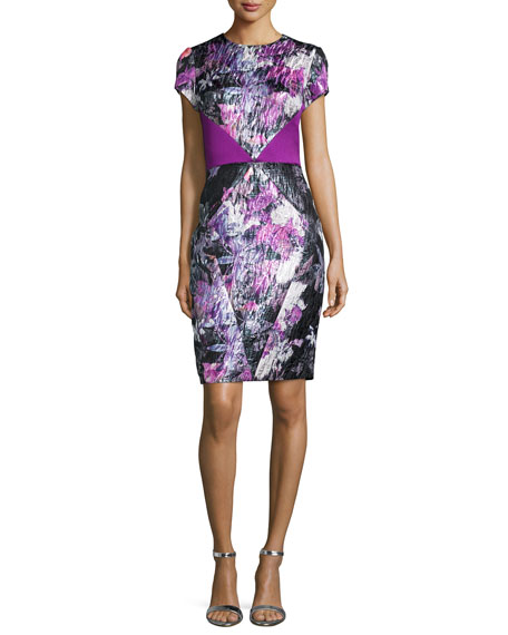 Theia Cap-Sleeve Floral Sheath Cocktail Dress