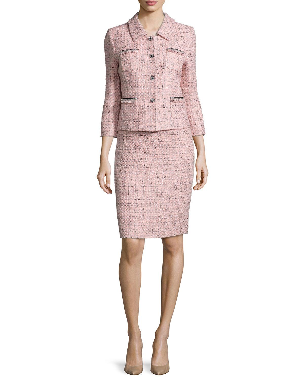 Exclusive Three Quarter Sleeve Tweed Skirt Suit Pink Black Neiman
