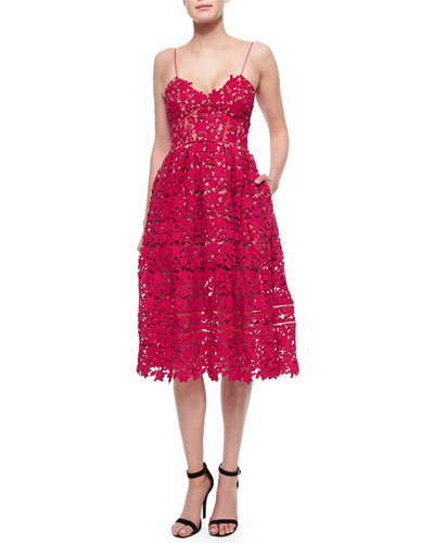 Azalea Lace Dress, Red
