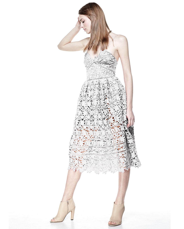 232de1a0bc68 Self-Portrait Azalea Lace Dress, White   Neiman Marcus