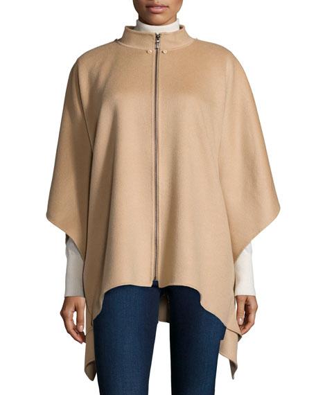 Zip-Front Cashmere Poncho W/ Fur Trim
