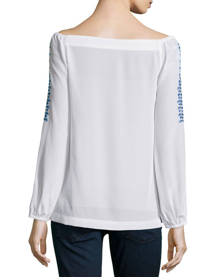 Long-Sleeve Embroidered Peasant Top