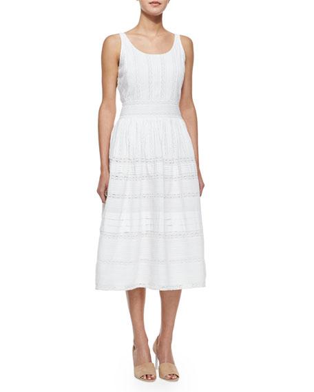 Alice + Olivia Myrtle Eyelet Midi Dress, White
