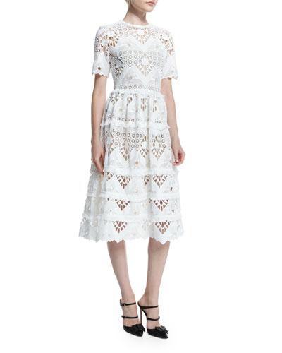 Benati Crochet Short-Sleeve Midi Dress, White