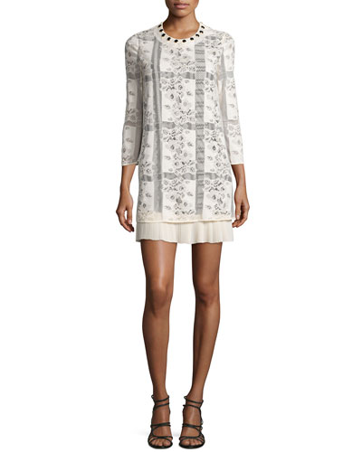 3/4-Sleeve Lace Easy Dress