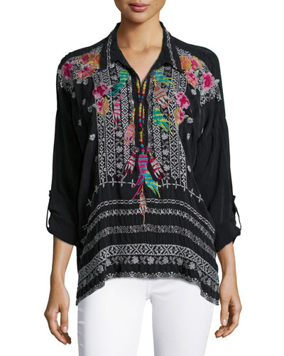 Indie Feather-Embroidered Blouse, Women