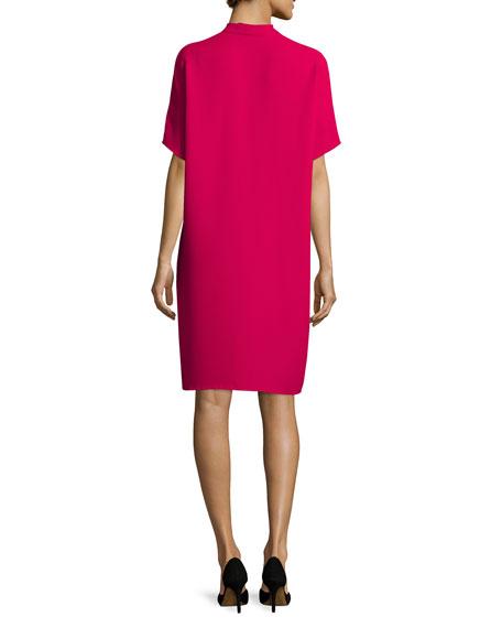 Short-Sleeve Double-V Pleated Dress