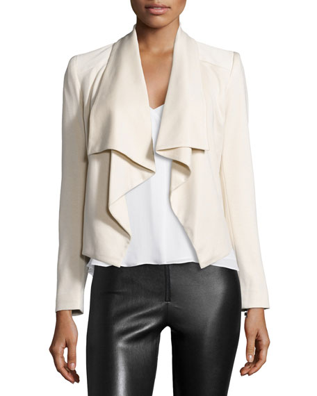 Alice + Olivia Cory Draped-Front Jacket, Ivory