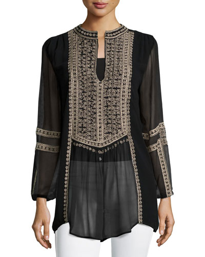 Lauren Embroidered Boho Blouse, Women's