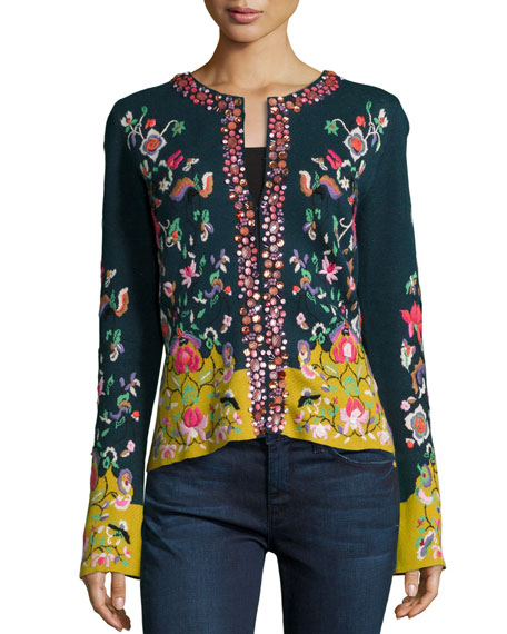 Michael Simon Embroidered Folkloric Cardigan, Petite
