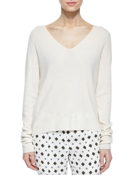 A.L.C. Rhodes Merino V-Neck Sweater, White