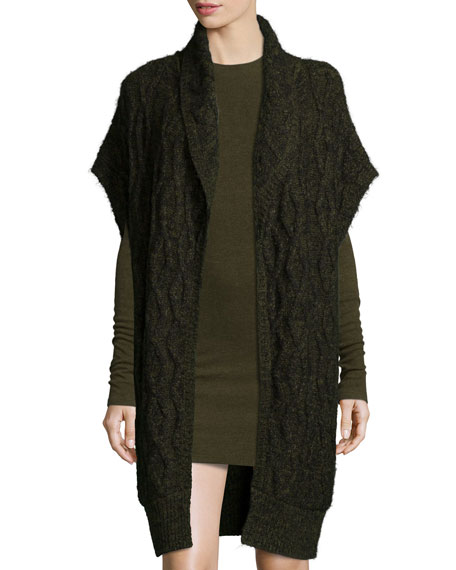 Alice + Olivia Darryl Oversized Open-Front Sweater, Army Green/Black