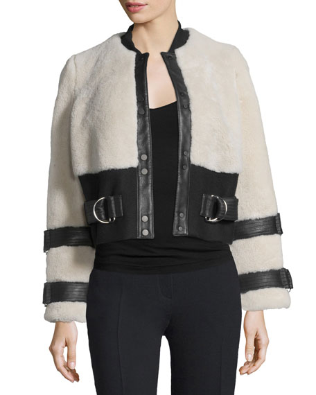 A.L.C.Stager Long-Sleeve Fur Jacket w/Leather Trim