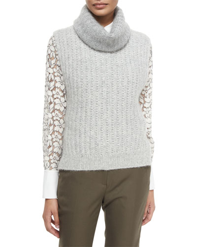 Sleeveless Knit Turtleneck Vest, Gray