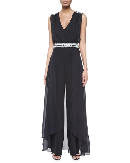 Embellished Silk Jumpsuit with Cape