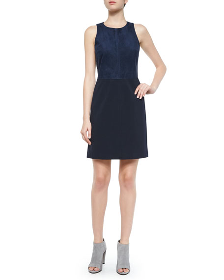 Theory Jinxil Sleeveless Suede Ponte Dress, Navy