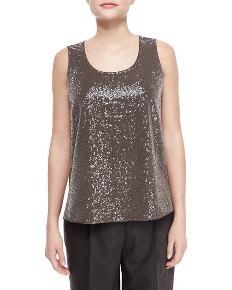 Cleo Sleeveless Sequined-Front Blouse
