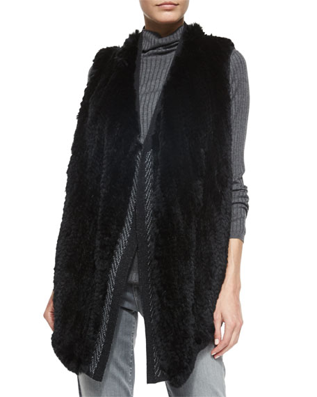 Vince Sleeveless Fur Vest w/Sweater Back