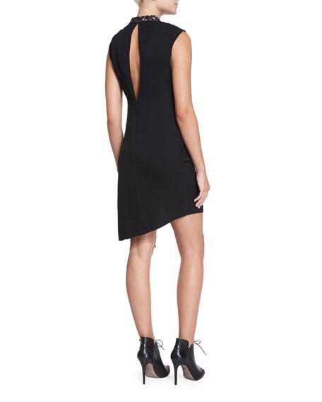 Embellished Silk Wrap-Front Long Dress, Black