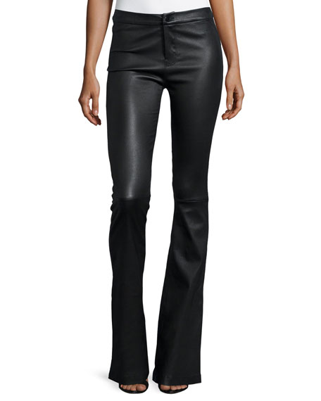 Vivia Flared Leather Pants, Black