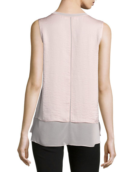 Layered Sleeveless Silk Blouse