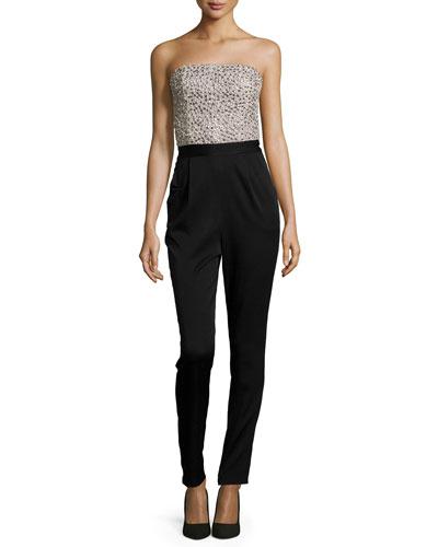Jeri Beaded Strapless Jumpsuit, Black/Cream
