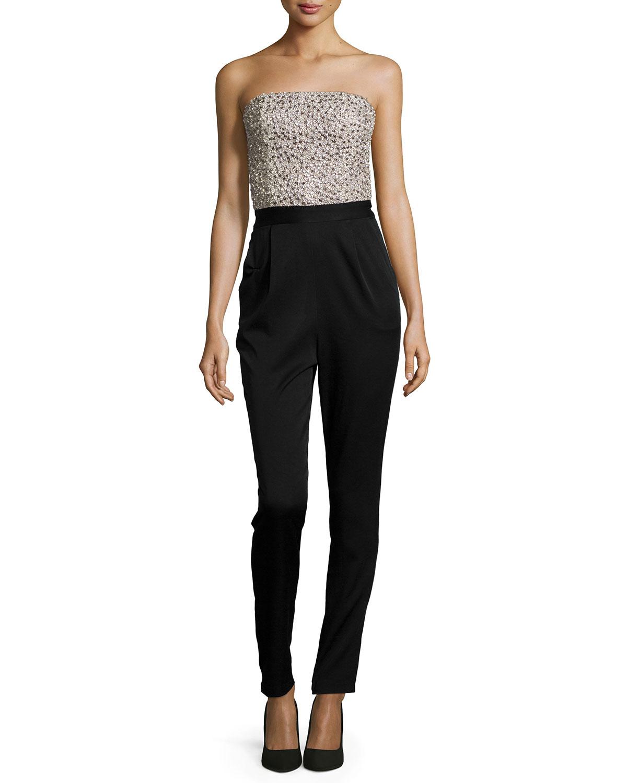 588dda2a52c7 Alice + Olivia Jeri Beaded Strapless Jumpsuit
