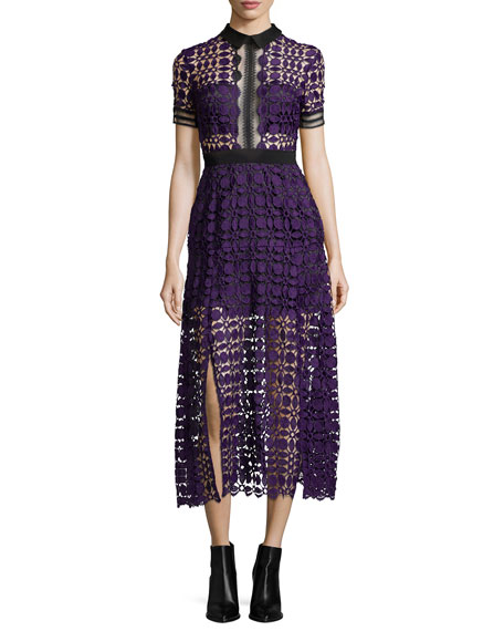 Self-Portrait Short-Sleeve Guipure-Lace Midi Dress, Purple