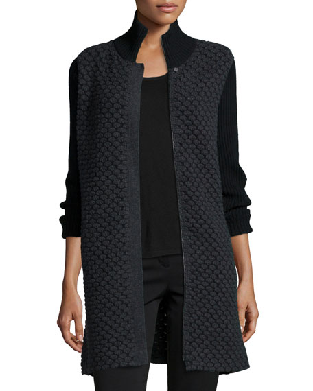Bubble-Stitch Zip-Front Cocoon Coat