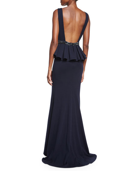 Sleeveless Peplum Gown
